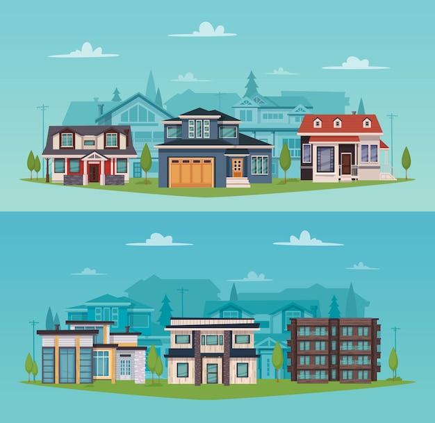 Bannières horizontales de campagne colorée avec maisons de banlieue et chalets