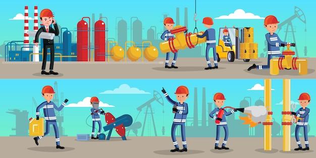Bannières horizontales de caractères de l'industrie pétrochimique
