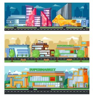 Bannières horizontales de centre commercial