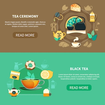 Bannières horizontales de la cérémonie du thé