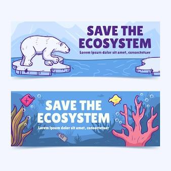 Bannières horizontales de changement climatique dessinés à la main