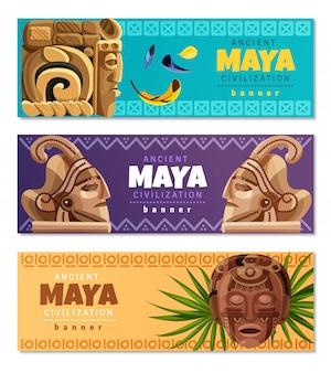 Bannières horizontales de la civilisation maya