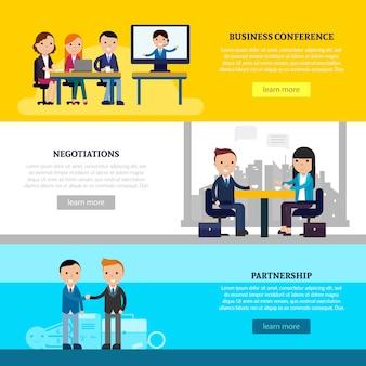 Bannières horizontales de collaboration commerciale