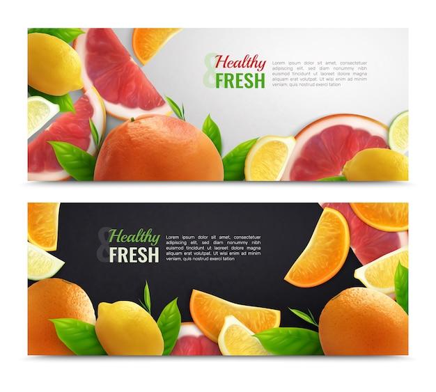 Bannières horizontales colorées aux agrumes avec jeu de fruits frais et légende saine réaliste
