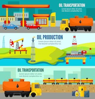 Bannières horizontales colorées de l'industrie pétrolière