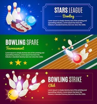 Bannières horizontales colorées isométriques de bowling