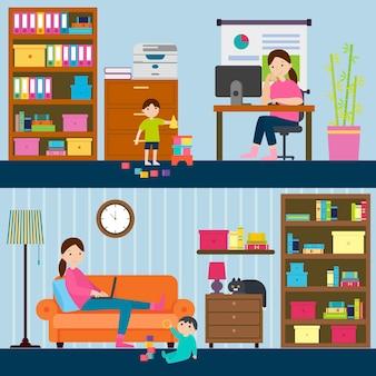 Bannières horizontales colorées de maternité