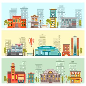 Bannières horizontales colorées de paysage urbain