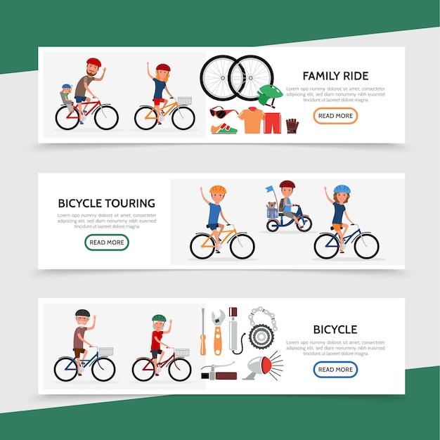 Bannières horizontales colorées de vélo plat