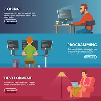 Bannières horizontales avec des concepteurs et des programmeurs