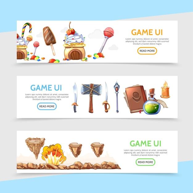 Bannières horizontales de conception de jeu plat