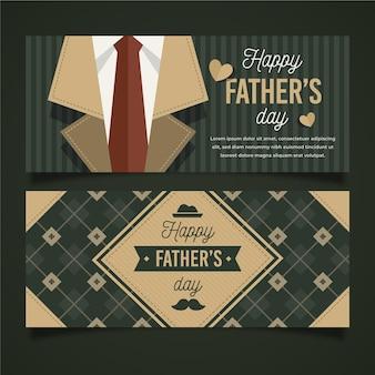 Bannières horizontales de conception plate fête des pères