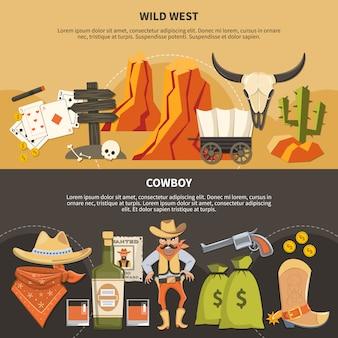 Bannières horizontales cowboy
