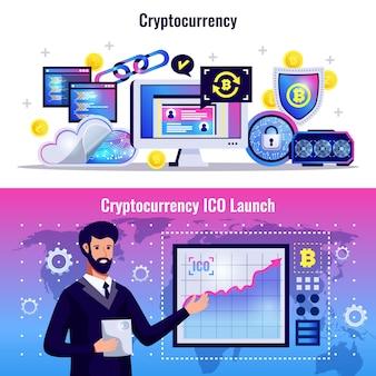 Bannières horizontales de crypto-monnaie