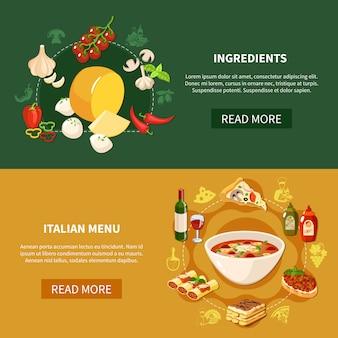 Bannières horizontales de cuisine italienne