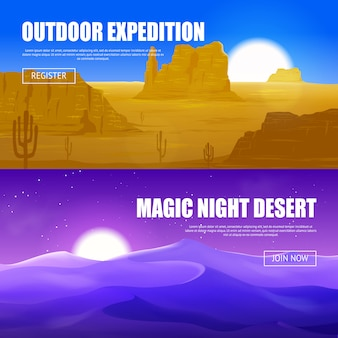 Bannières horizontales dans le désert