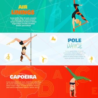 Bannières horizontales de danse