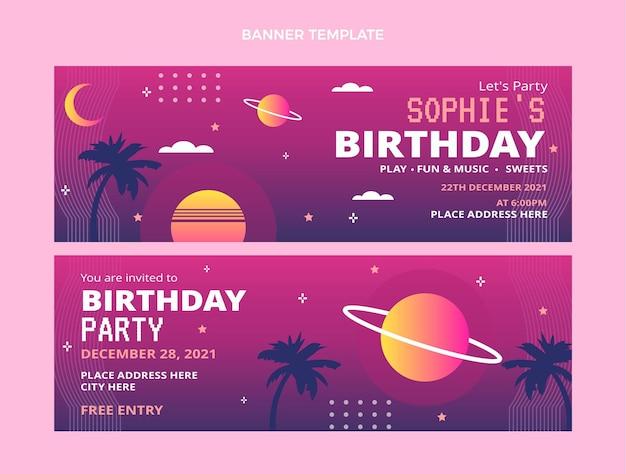 Bannières horizontales dégradé rétro vaporwave anniversaire