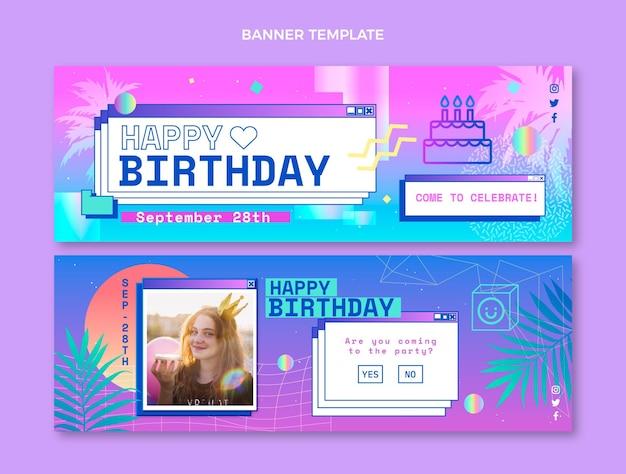 Bannières horizontales dégradé vaporwave anniversaire