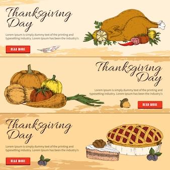 Bannières horizontales dessinées à la main de thanksgiving day
