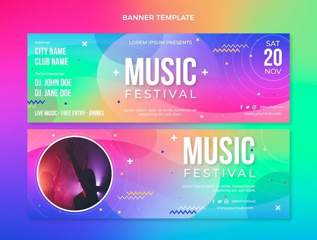 Bannières horizontales du festival de musique coloré dégradé