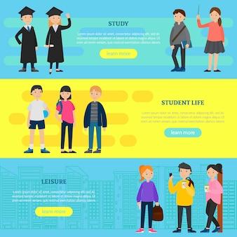 Bannières horizontales d'éducation colorées