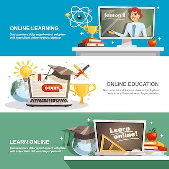 Bannières horizontales d'éducation en ligne