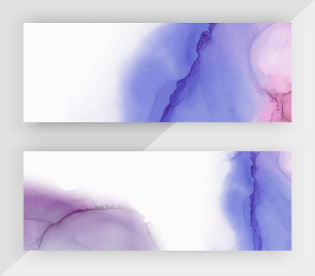 Bannières horizontales d'encre bleue et violette pour les médias sociaux