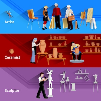 Bannières horizontales ensemble de scènes avec artiste céramiste et sculpteur au travail