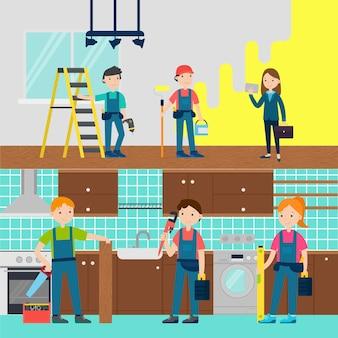 Bannières horizontales de l'équipe d'amélioration de la maison