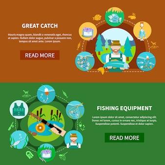 Bannières horizontales d'équipement de pêche