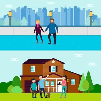Bannières horizontales familiales en bonne santé