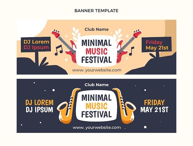 Bannières horizontales de festival de musique minimal design plat