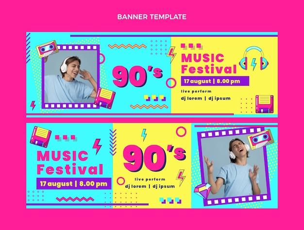 Bannières horizontales de festival de musique nostalgique design plat