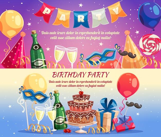 Bannières horizontales de fête d'anniversaire