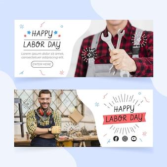 Bannières horizontales de la fête du travail dessinées à la main avec photo