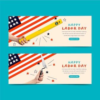 Bannières horizontales de la fête du travail avec photo