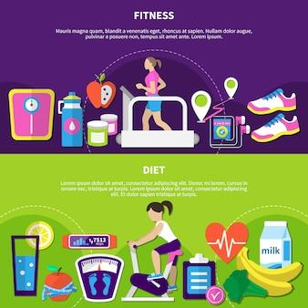 Bannières horizontales de fitness