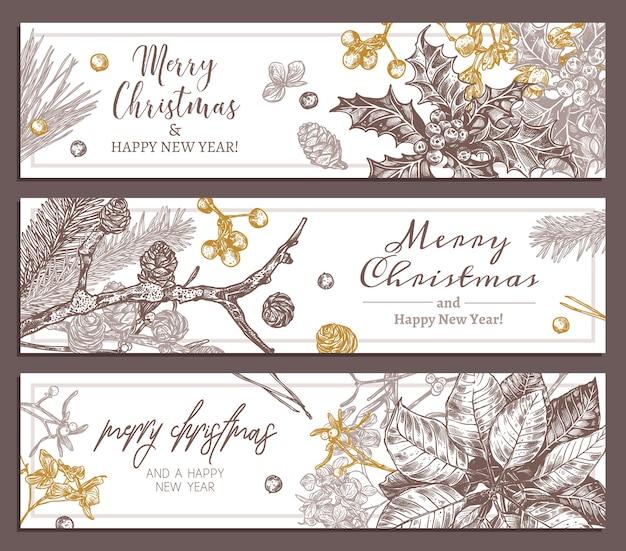 Bannières horizontales florales de vacances de noël. plantes festives du nouvel an, branches de sapin, mélèze, épicéa