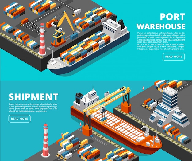 Bannières horizontales de fret et d'expédition de transport maritime avec port isométrique, navires, conteneurs et grue