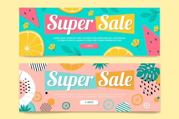 Bannières horizontales avec fruits