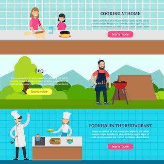 Bannières horizontales de gens de cuisine
