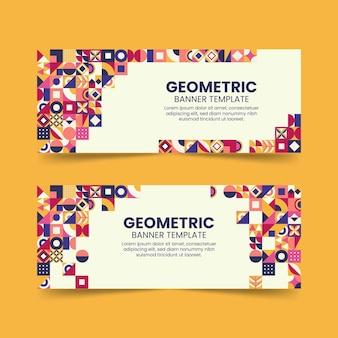 Bannières horizontales géométriques plates