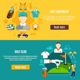 Bannières horizontales de golf