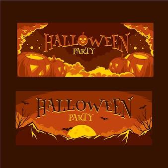 Bannières horizontales halloween design plat