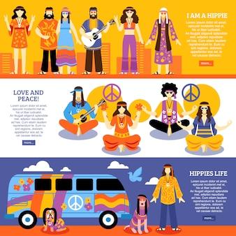Bannières horizontales hippie