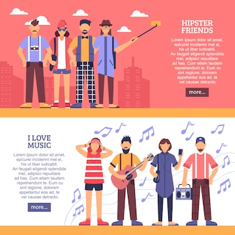 Bannières horizontales hipster