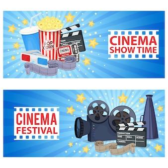 Bannières horizontales avec des icônes de cinéma