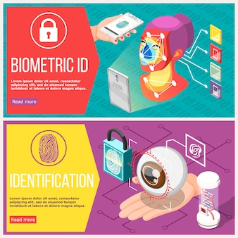 Bannières horizontales d'identification biométrique