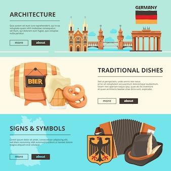 Bannières horizontales avec des images de monuments allemands